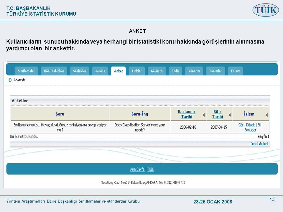 T.C. BAŞBAKANLIK TÜRKİYE İSTATİSTİK KURUMU Yöntem Araştırmaları Daire Başkanlığı Sınıflamalar ve standartlar Grubu 23-25 OCAK.2008 13 ANKET Kullanıcıl