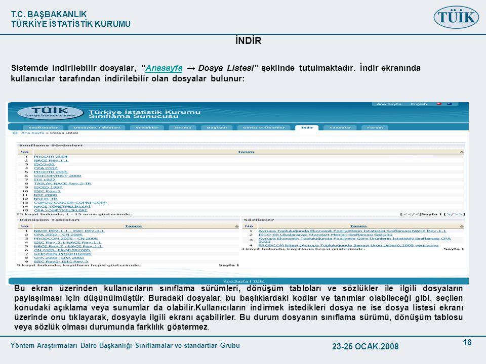 T.C. BAŞBAKANLIK TÜRKİYE İSTATİSTİK KURUMU Yöntem Araştırmaları Daire Başkanlığı Sınıflamalar ve standartlar Grubu 23-25 OCAK.2008 16 İNDİR Sistemde i