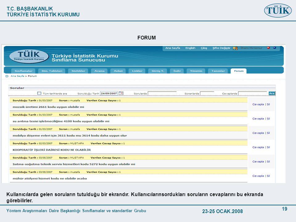 T.C. BAŞBAKANLIK TÜRKİYE İSTATİSTİK KURUMU Yöntem Araştırmaları Daire Başkanlığı Sınıflamalar ve standartlar Grubu 23-25 OCAK.2008 19 FORUM Kullanıcıl