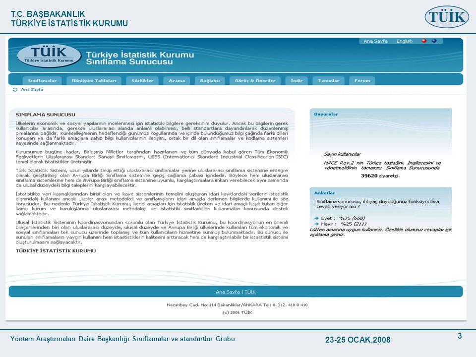 T.C. BAŞBAKANLIK TÜRKİYE İSTATİSTİK KURUMU Yöntem Araştırmaları Daire Başkanlığı Sınıflamalar ve standartlar Grubu 23-25 OCAK.2008 3