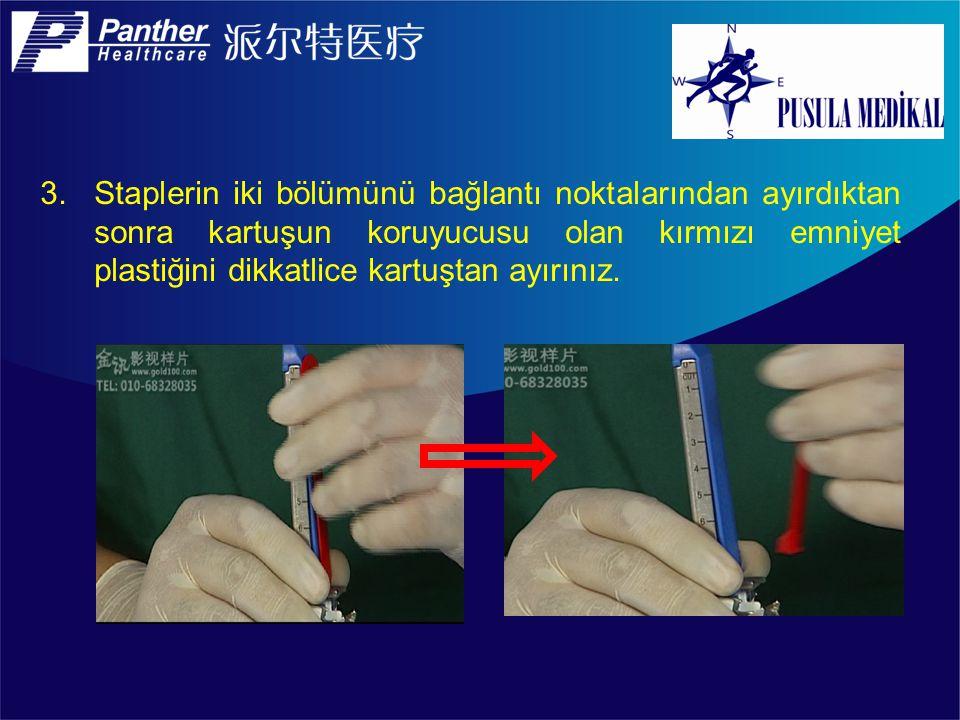 13.Ateşlenmiş kartuşu, kartuş üzerinde bulunan parmak tutucuların olduğu yerden (kartuş bıçağının bulunduğu taraf) tek elle tutarak dikkatlice çıkarınız.