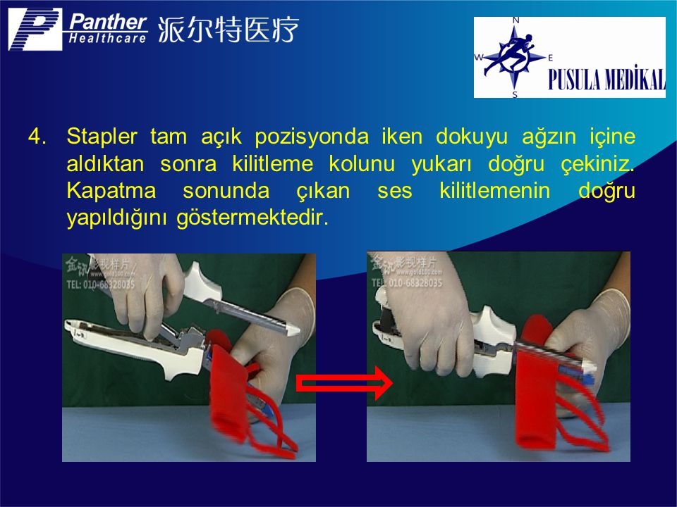 14.Dolu kartuşu yüklerken staplerin ucundaki yere kartuşun uç kısmını oturtarak yerleştiriyor ve kartuşun arka kısmını (bıçağın bulunduğu yer) sonra yerleştiriyoruz.