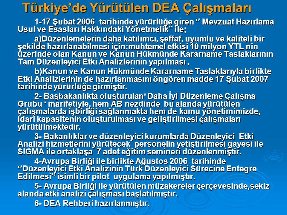 Türkiye'de Yürütülen DEA Çalışmaları 1-17 Şubat 2006 tarihinde yürürlüğe giren '' Mevzuat Hazırlama Usul ve Esasları Hakkındaki Yönetmelik'' ile; a)Dü