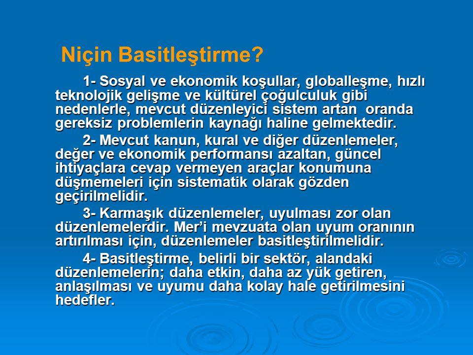 Niçin Basitleştirme? 1- Sosyal ve ekonomik koşullar, globalleşme, hızlı teknolojik gelişme ve kültürel çoğulculuk gibi nedenlerle, mevcut düzenleyici