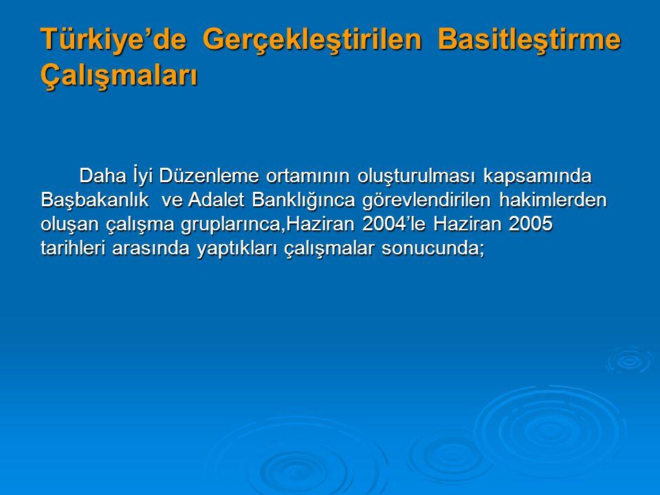 Türkiye'de Gerçekleştirilen Basitleştirme Çalışmaları Daha İyi Düzenleme ortamının oluşturulması kapsamında Başbakanlık ve Adalet Banklığınca görevlen