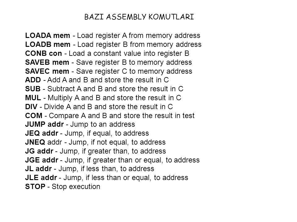 LOADA mem - Load register A from memory address LOADB mem - Load register B from memory address CONB con - Load a constant value into register B SAVEB