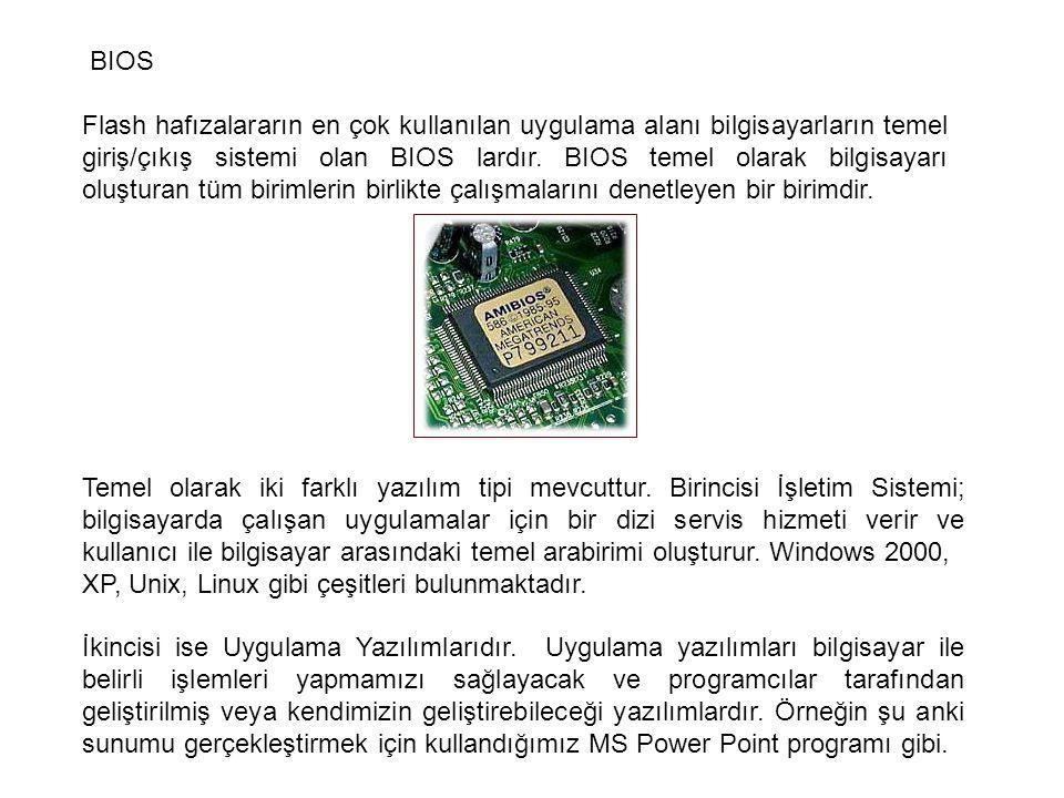 BIOS Flash hafızalararın en çok kullanılan uygulama alanı bilgisayarların temel giriş/çıkış sistemi olan BIOS lardır. BIOS temel olarak bilgisayarı ol