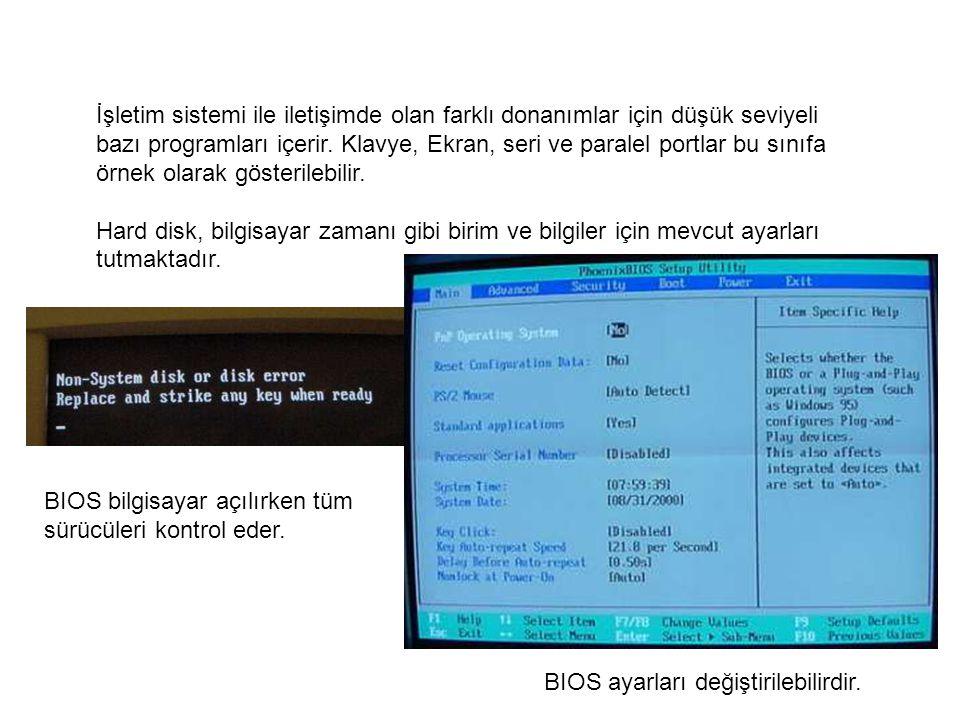 İşletim sistemi ile iletişimde olan farklı donanımlar için düşük seviyeli bazı programları içerir. Klavye, Ekran, seri ve paralel portlar bu sınıfa ör