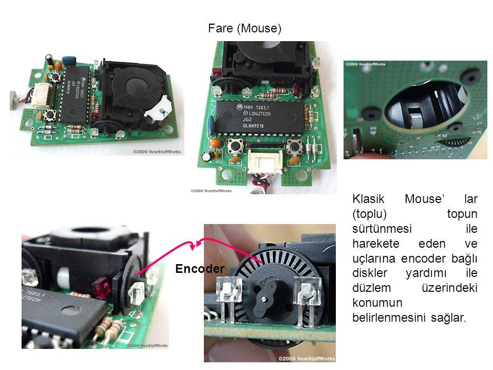 Fare (Mouse) Klasik Mouse' lar (toplu) topun sürtünmesi ile harekete eden ve uçlarına encoder bağlı diskler yardımı ile düzlem üzerindeki konumun beli