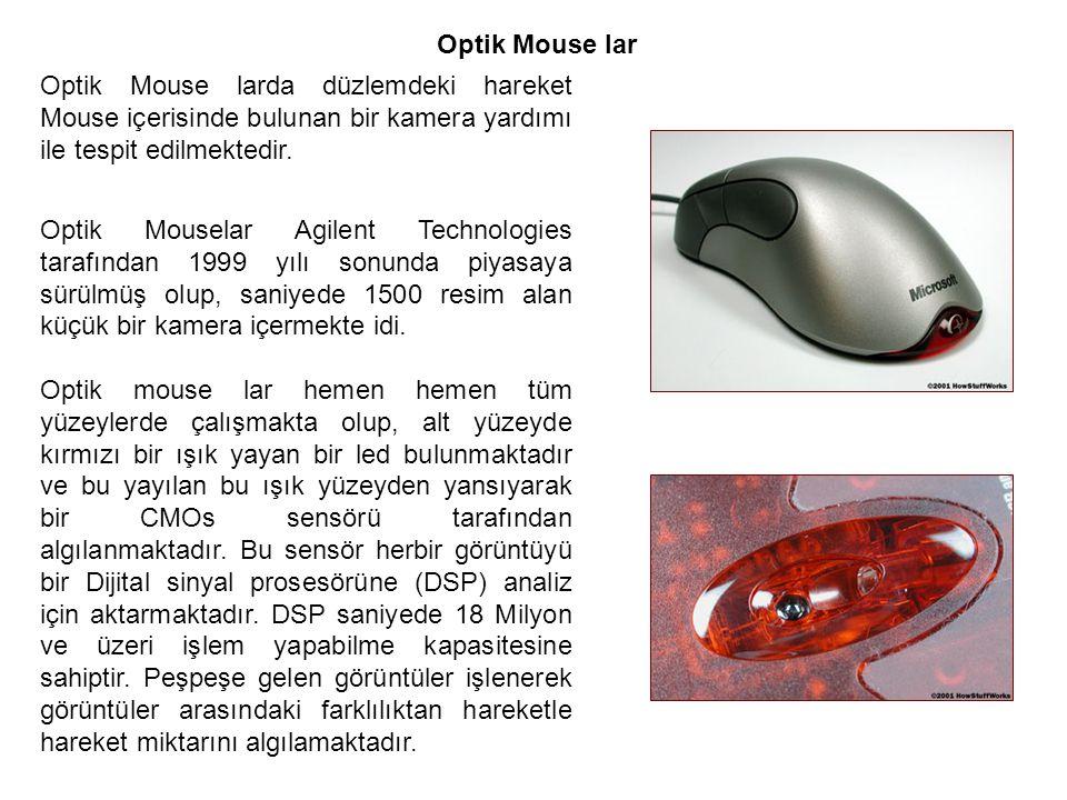 Optik Mouse lar Optik Mouse larda düzlemdeki hareket Mouse içerisinde bulunan bir kamera yardımı ile tespit edilmektedir. Optik Mouselar Agilent Techn