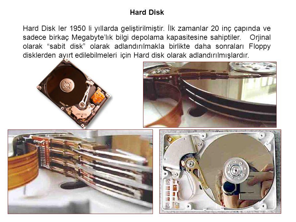 Hard Disk Hard Disk ler 1950 li yıllarda geliştirilmiştir. İlk zamanlar 20 inç çapında ve sadece birkaç Megabyte'lık bilgi depolama kapasitesine sahip