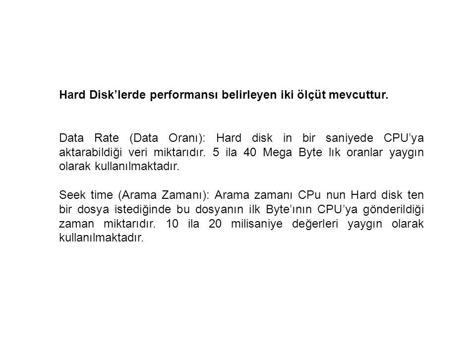 Hard Disk'lerde performansı belirleyen iki ölçüt mevcuttur. Data Rate (Data Oranı): Hard disk in bir saniyede CPU'ya aktarabildiği veri miktarıdır. 5