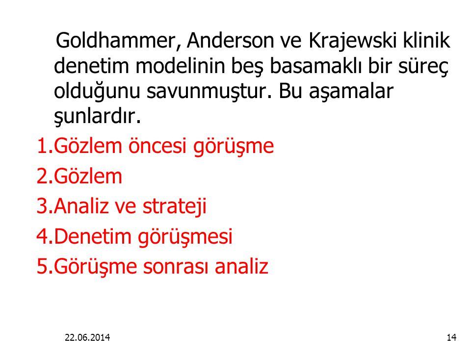 22.06.201414 Goldhammer, Anderson ve Krajewski klinik denetim modelinin beş basamaklı bir süreç olduğunu savunmuştur.