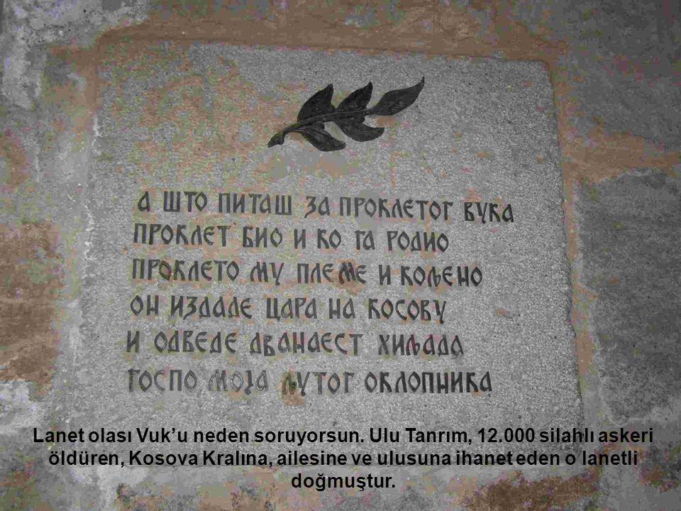 Lanet olası Vuk'u neden soruyorsun. Ulu Tanrım, 12.000 silahlı askeri öldüren, Kosova Kralına, ailesine ve ulusuna ihanet eden o lanetli doğmuştur.