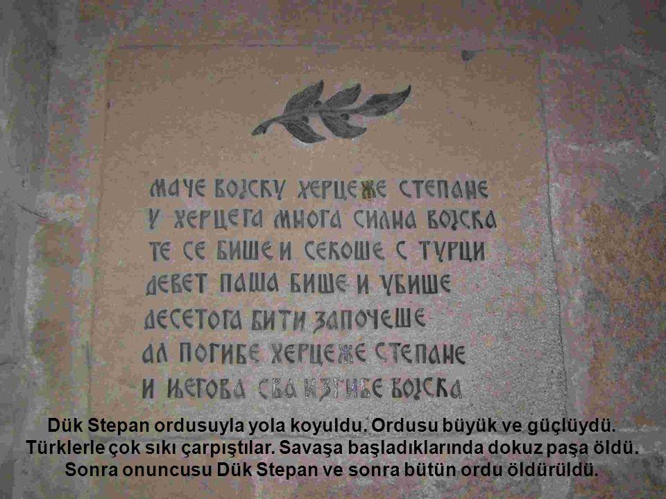 Dük Stepan ordusuyla yola koyuldu. Ordusu büyük ve güçlüydü. Türklerle çok sıkı çarpıştılar. Savaşa başladıklarında dokuz paşa öldü. Sonra onuncusu Dü