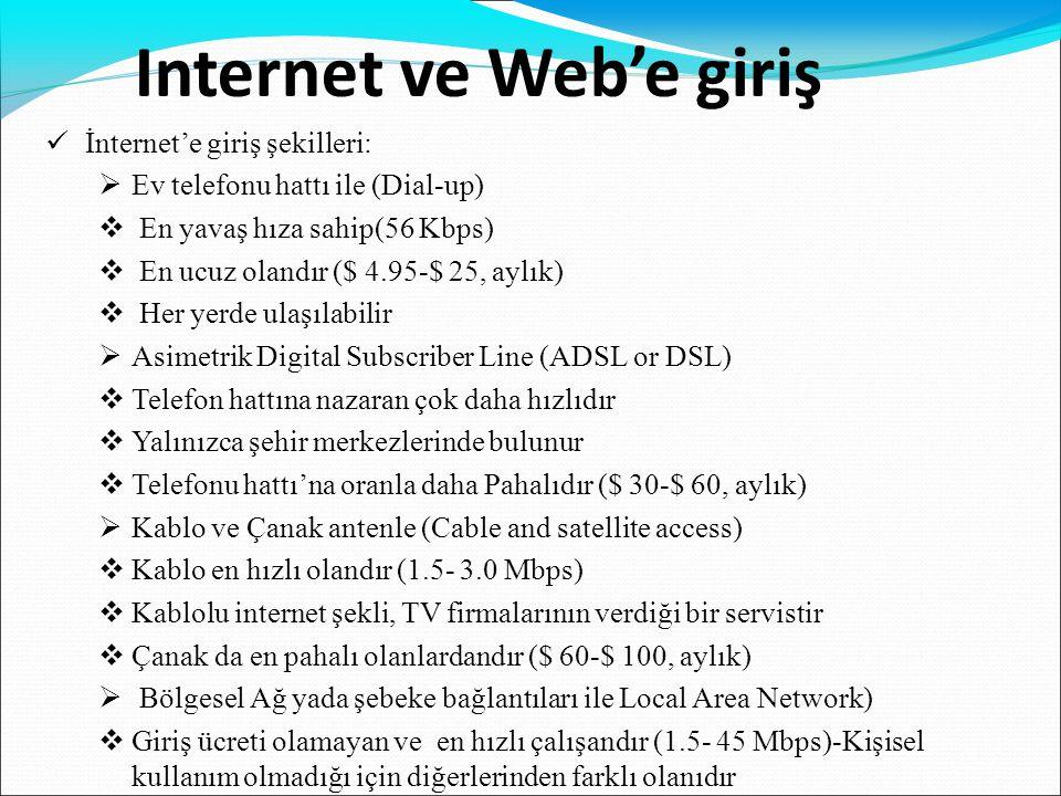 Internet ve Web'e giriş  İnternet'e giriş şekilleri:  Ev telefonu hattı ile (Dial-up)  En yavaş hıza sahip(56 Kbps)  En ucuz olandır ($ 4.95-$ 25,