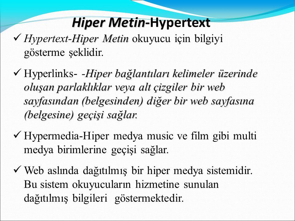 Hiper Metin- Hiper Metin-Hypertext Hiper Metin  Hypertext-Hiper Metin okuyucu için bilgiyi gösterme şeklidir. Hiper bağlantıları kelimeler üzerinde o
