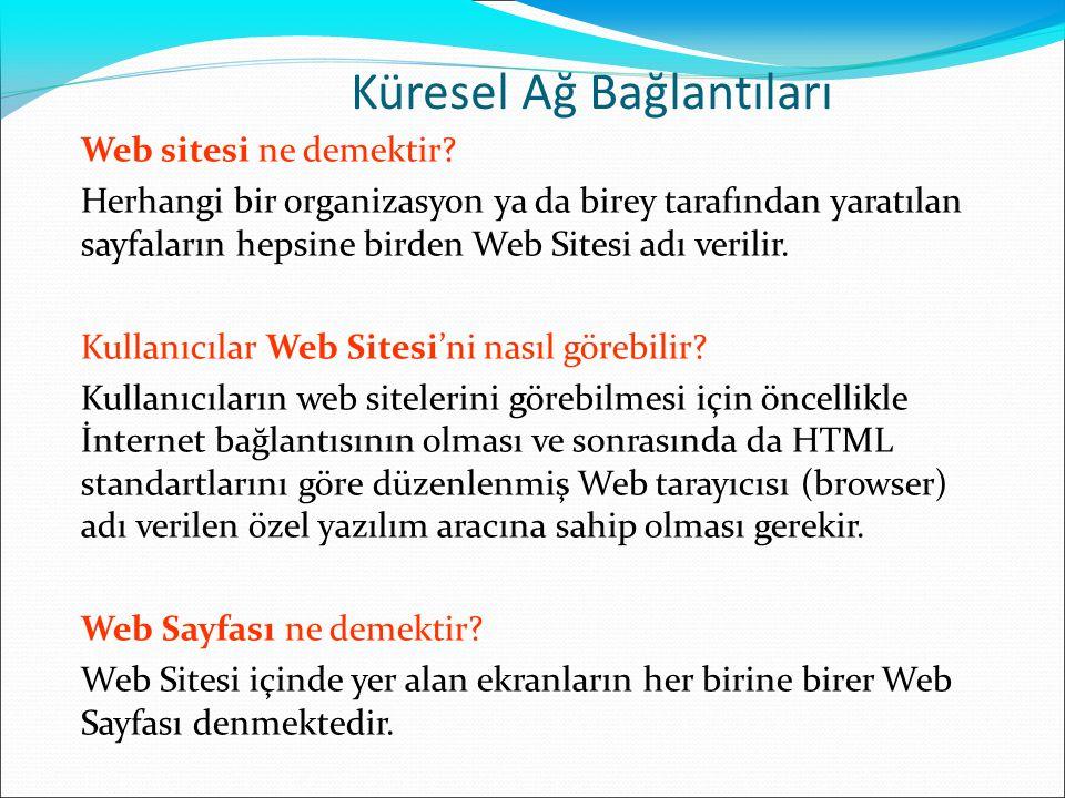 Küresel Ağ Bağlantıları Web sitesi ne demektir? Herhangi bir organizasyon ya da birey tarafından yaratılan sayfaların hepsine birden Web Sitesi adı ve