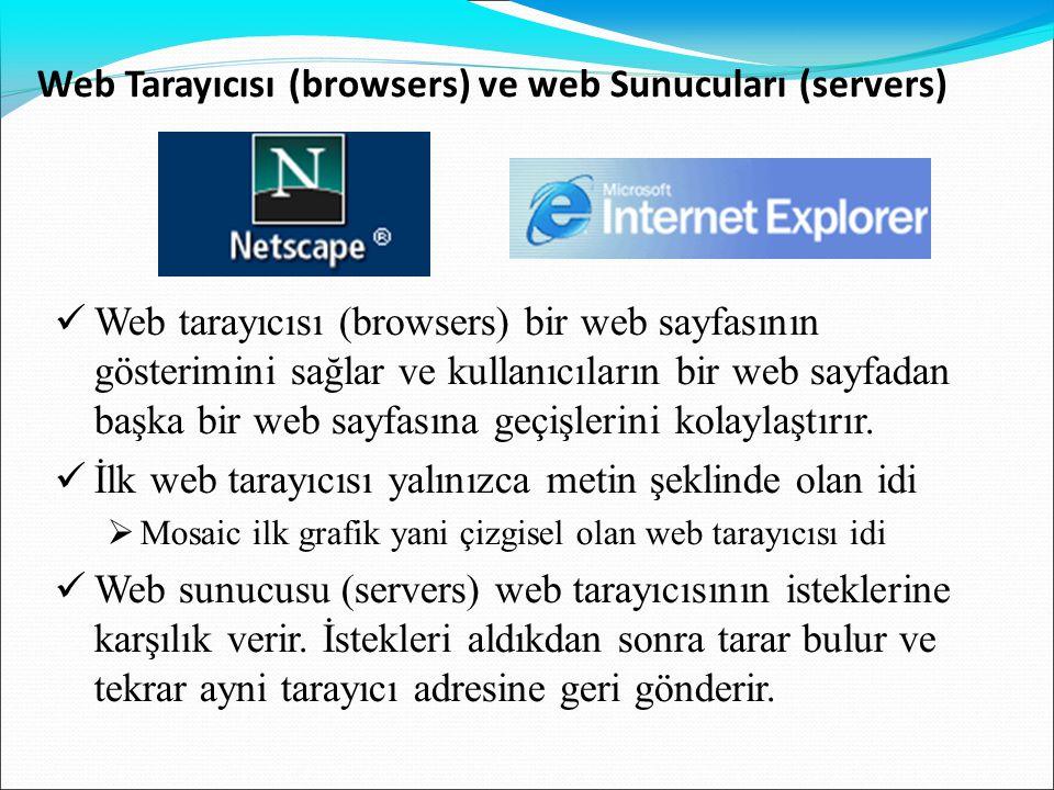 Web Tarayıcısı (browsers) ve web Sunucuları (servers)  Web tarayıcısı (browsers) bir web sayfasının gösterimini sağlar ve kullanıcıların bir web sayf