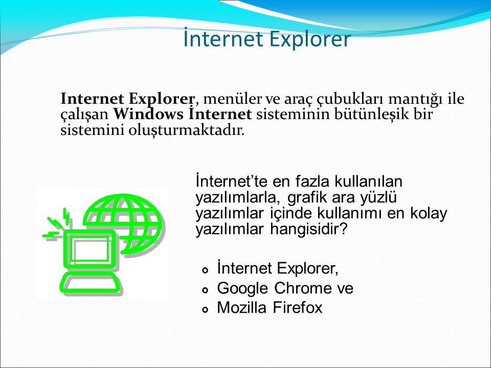 İnternet Explorer Internet Explorer, menüler ve araç çubukları mantığı ile çalışan Windows İnternet sisteminin bütünleşik bir sistemini oluşturmaktadı