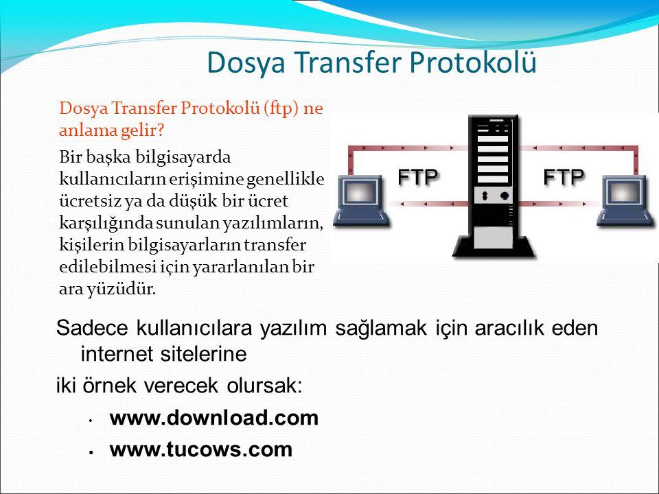 Dosya Transfer Protokolü Dosya Transfer Protokolü (ftp) ne anlama gelir? Bir başka bilgisayarda kullanıcıların erişimine genellikle ücretsiz ya da düş