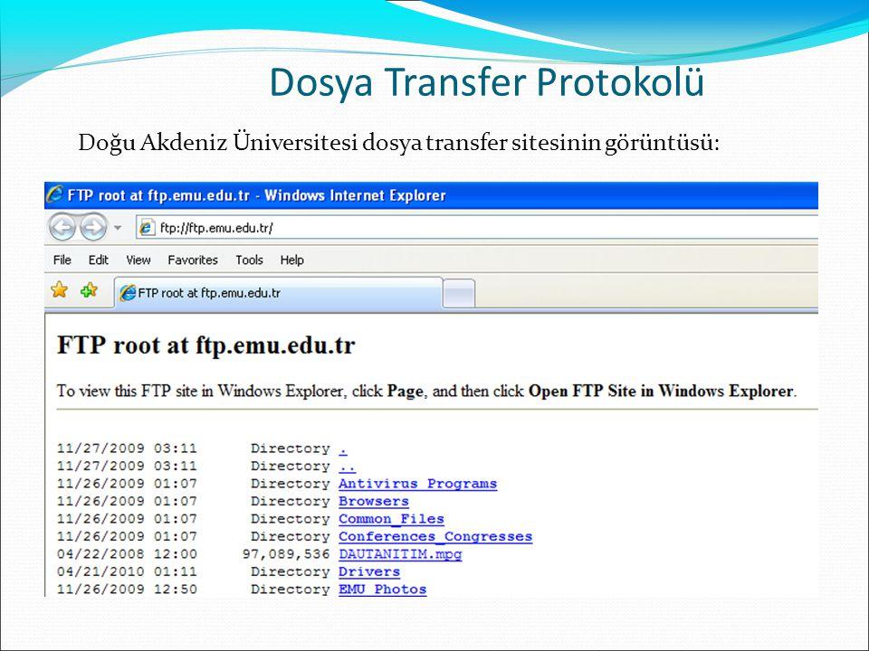 Doğu Akdeniz Üniversitesi dosya transfer sitesinin görüntüsü: Dosya Transfer Protokolü