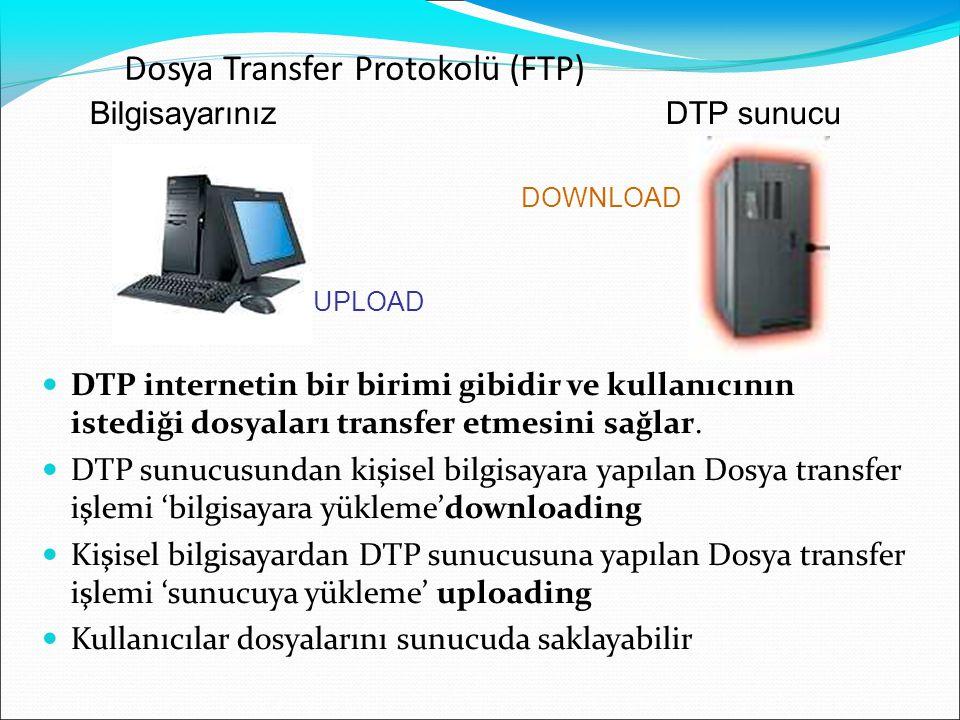 BilgisayarınızDTP sunucu DOWNLOAD UPLOAD Dosya Transfer Protokolü (FTP)  DTP internetin bir birimi gibidir ve kullanıcının istediği dosyaları transfe