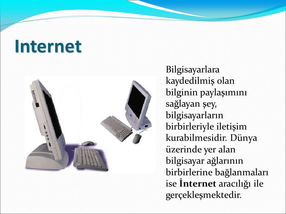 Internet Bilgisayarlara kaydedilmiş olan bilginin paylaşımını sağlayan şey, bilgisayarların birbirleriyle iletişim kurabilmesidir. Dünya üzerinde yer