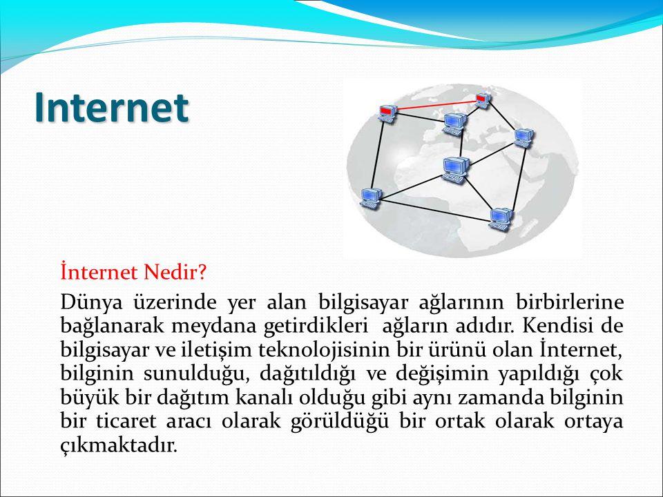 Internet İnternet Nedir? Dünya üzerinde yer alan bilgisayar ağlarının birbirlerine bağlanarak meydana getirdikleri ağların adıdır. Kendisi de bilgisay