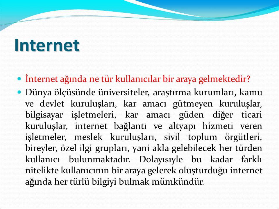 Internet  İnternet ağında ne tür kullanıcılar bir araya gelmektedir?  Dünya ölçüsünde üniversiteler, araştırma kurumları, kamu ve devlet kuruluşları