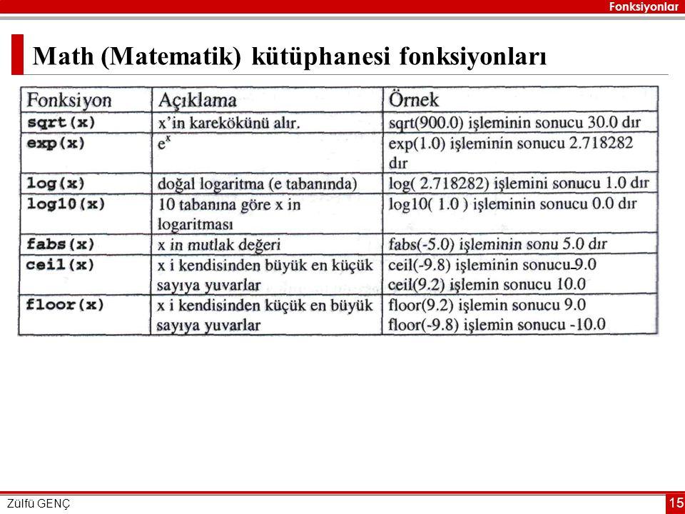 Fonksiyonlar Zülfü GENÇ 15 Math (Matematik) kütüphanesi fonksiyonları