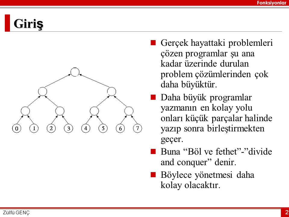 Fonksiyonlar Zülfü GENÇ 33 …  main fonksiyonu yani programın ana fonksiyonu problemi çözecek olan üç fonksiyonu çağıracaktır.