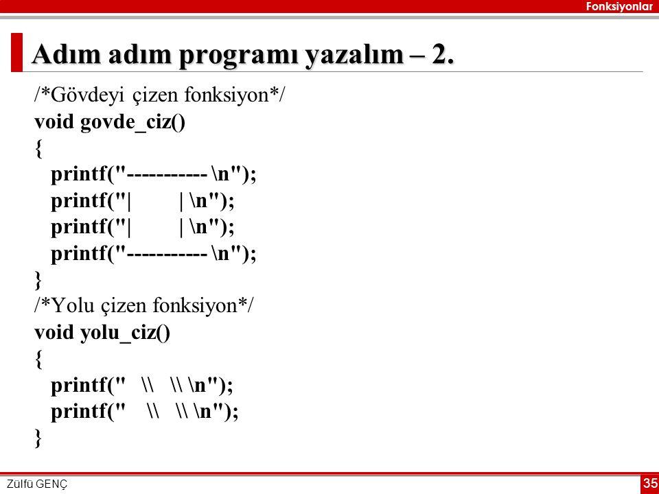 Fonksiyonlar Zülfü GENÇ 35 Adım adım programı yazalım – 2. /*Gövdeyi çizen fonksiyon*/ void govde_ciz() { printf(