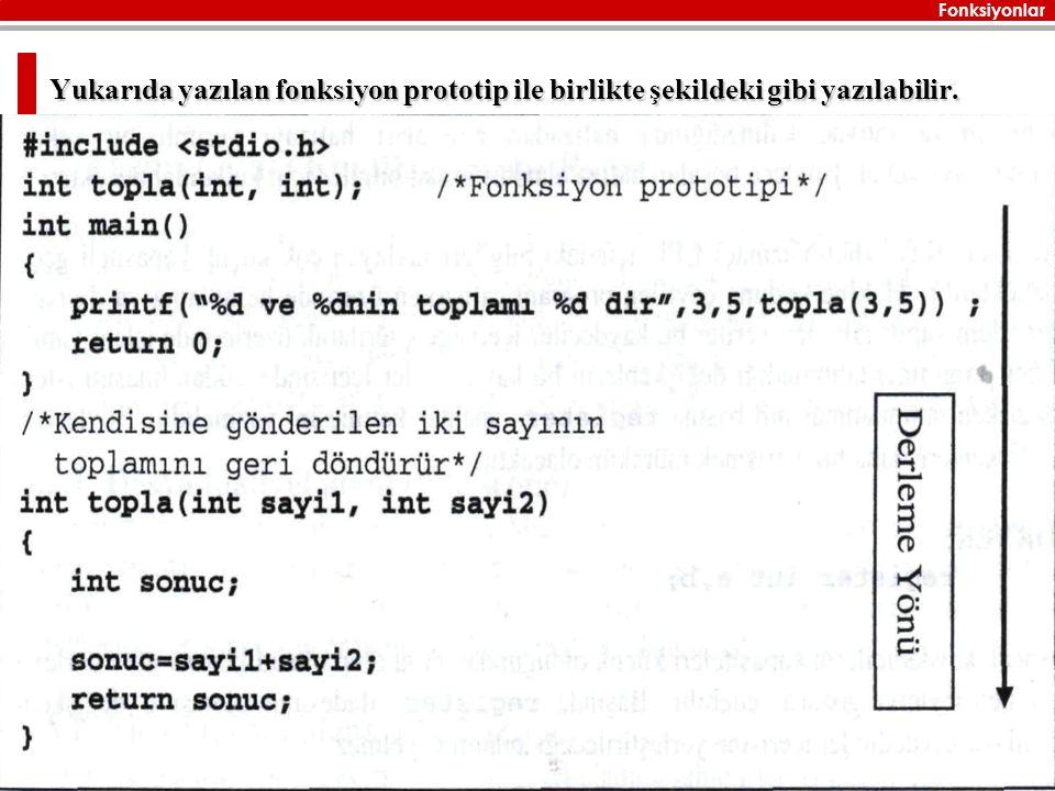 Fonksiyonlar Zülfü GENÇ 61 Yukarıda yazılan fonksiyon prototip ile birlikte şekildeki gibi yazılabilir.