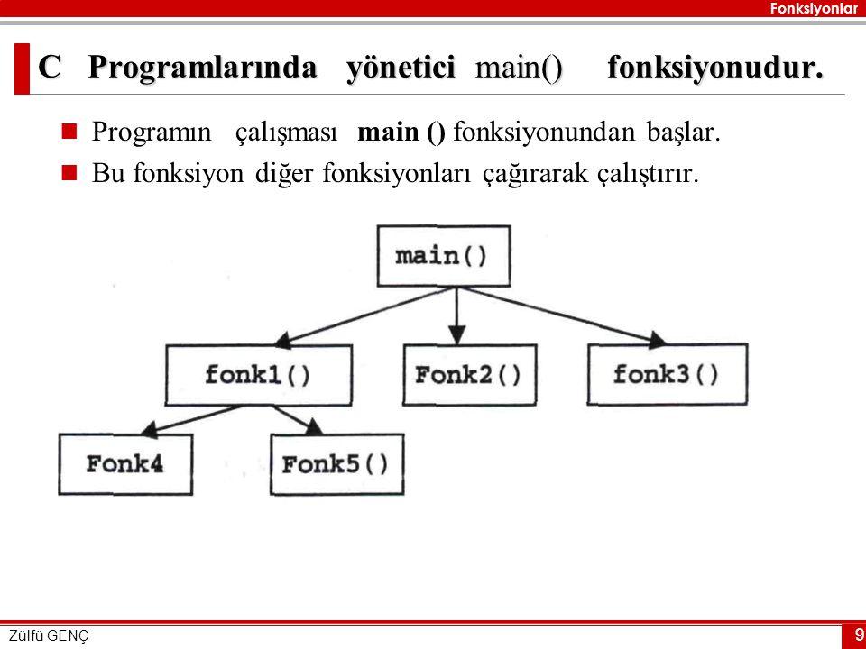 Fonksiyonlar Zülfü GENÇ 9 C Programlarında yönetici main() fonksiyonudur.  Programın çalışması main () fonksiyonundan başlar.  Bu fonksiyon diğer fo