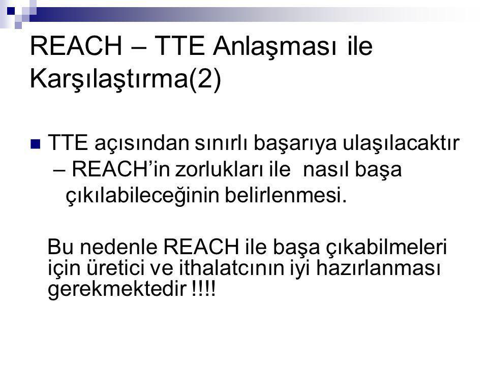 REACH – TTE Anlaşması ile Karşılaştırma(2)  TTE açısından sınırlı başarıya ulaşılacaktır – REACH'in zorlukları ile nasıl başa çıkılabileceğinin belir