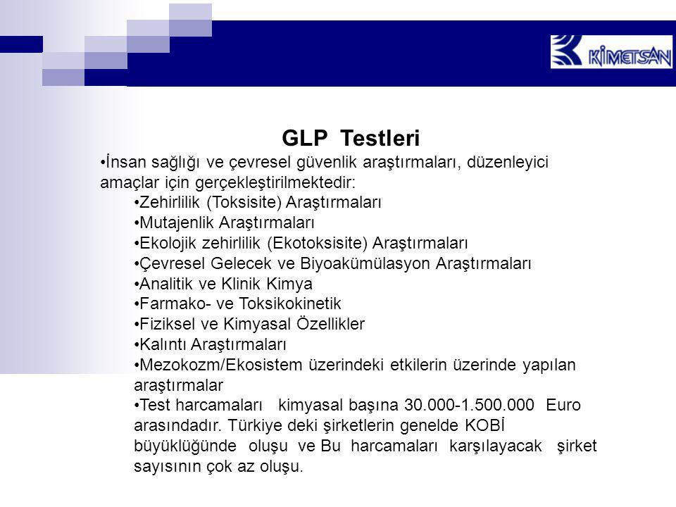 GLP Testleri •İnsan sağlığı ve çevresel güvenlik araştırmaları, düzenleyici amaçlar için gerçekleştirilmektedir: •Zehirlilik (Toksisite) Araştırmaları