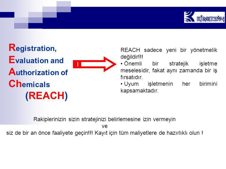 R egistration, E valuation and A uthorization of Ch emicals (REACH) REACH sadece yeni bir yönetmelik değildir!!! • Önemli bir stratejik işletme mesele