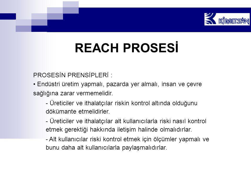 REACH PROSESİ PROSESİN PRENSİPLERİ : • Endüstri üretim yapmalı, pazarda yer almalı, insan ve çevre sağlığına zarar vermemelidir. - Üreticiler ve ithal