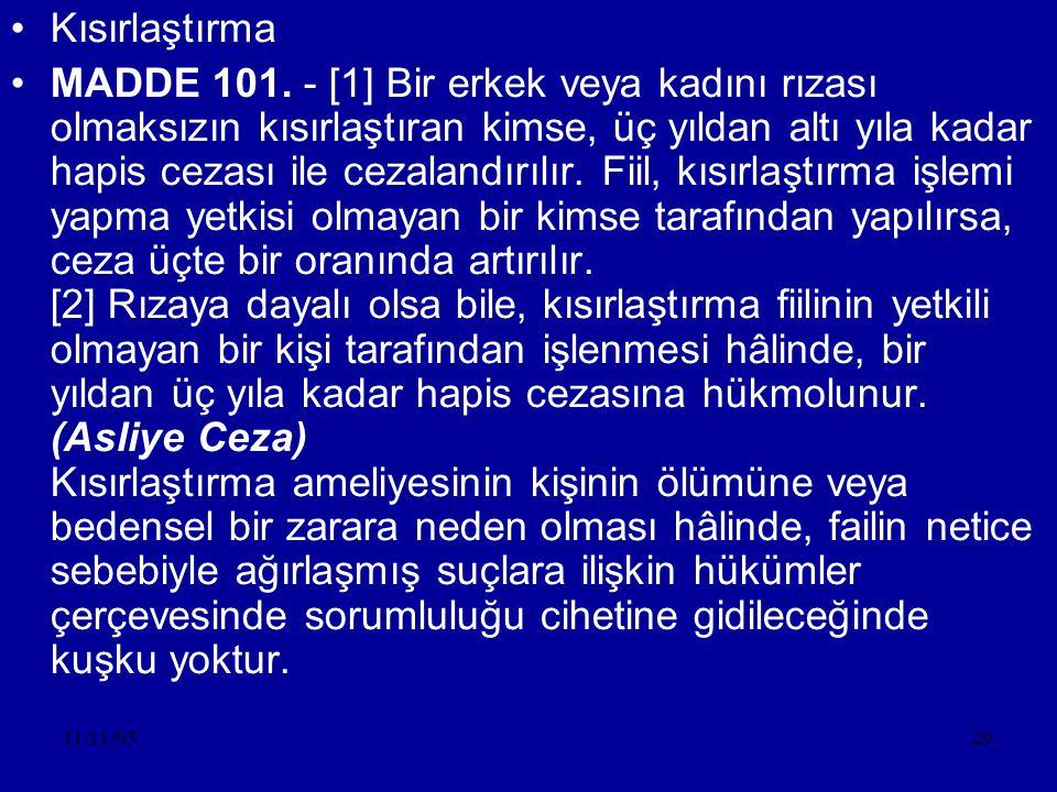 11/11/0529 •Kısırlaştırma •MADDE 101.