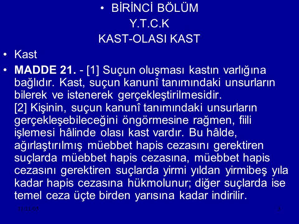 11/11/054 •Kastın Unsurları •a)Bilme Unsuru •b)İsteme Unsuru •Cebir-şiddet ve tehdit altında suç işleyende bilme varsa da isteme yoktur.
