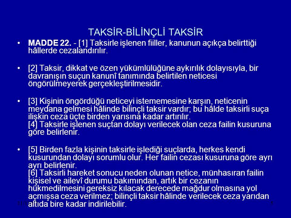 11/11/056 •AÇIKLAMA •Taksirin unsurları •1-Kişide dikkat ve özen yükümlülüğünün bulunması(Taksirli suçun haksızlık unsuru) •2-Dikkat ve özen yükümlülüğüne aykırı davranmak •3-Aykırı davranış sonucu öngörülmeyen neticenin oluşması •4-Oluşan bu neticenin kanunda suç olarak belirtilmesi ve cezalandırmayı gerektirmesi