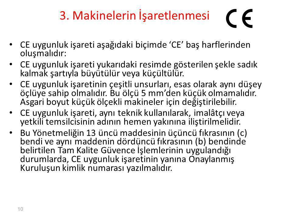 3. Makinelerin İşaretlenmesi • CE uygunluk işareti aşağıdaki biçimde 'CE' baş harflerinden oluşmalıdır: • CE uygunluk işareti yukarıdaki resimde göste