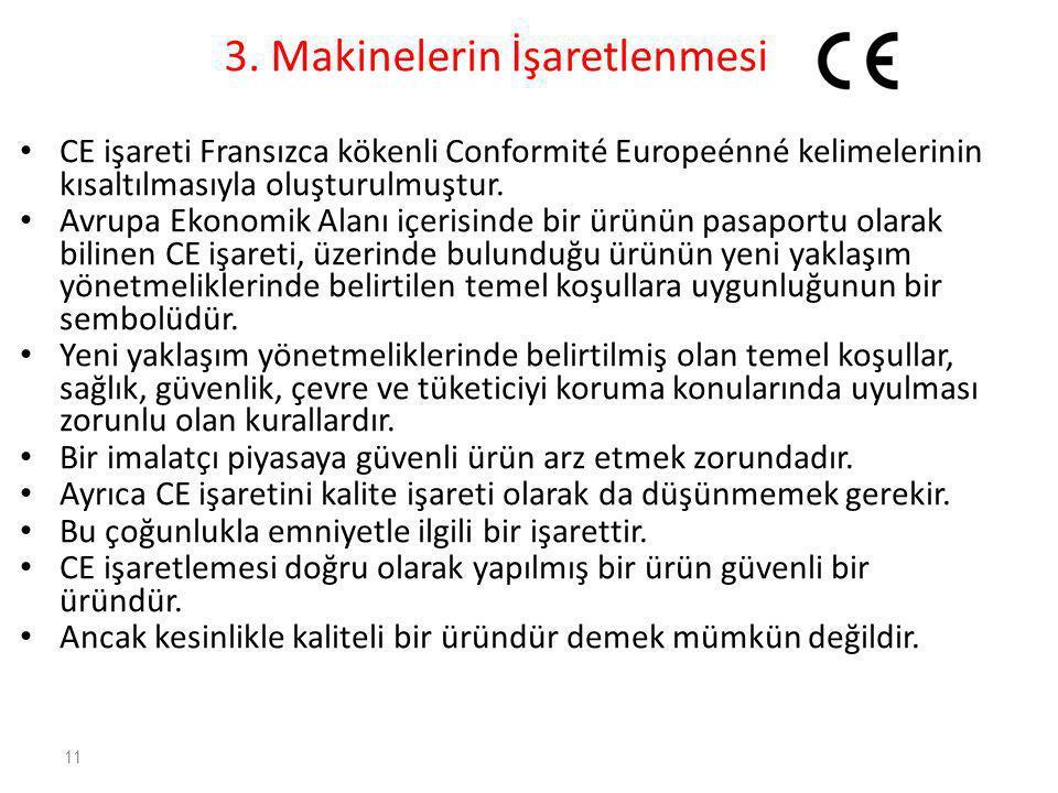 3. Makinelerin İşaretlenmesi • CE işareti Fransızca kökenli Conformité Europeénné kelimelerinin kısaltılmasıyla oluşturulmuştur. • Avrupa Ekonomik Ala