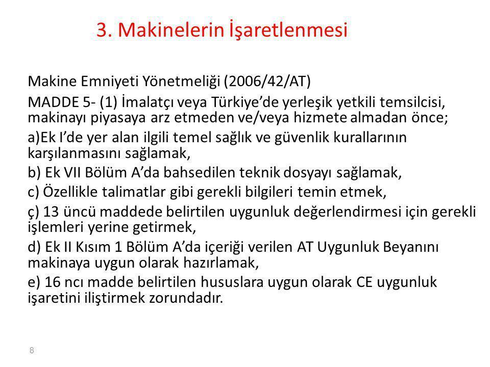 3. Makinelerin İşaretlenmesi Makine Emniyeti Yönetmeliği (2006/42/AT) MADDE 5- (1) İmalatçı veya Türkiye'de yerleşik yetkili temsilcisi, makinayı piya