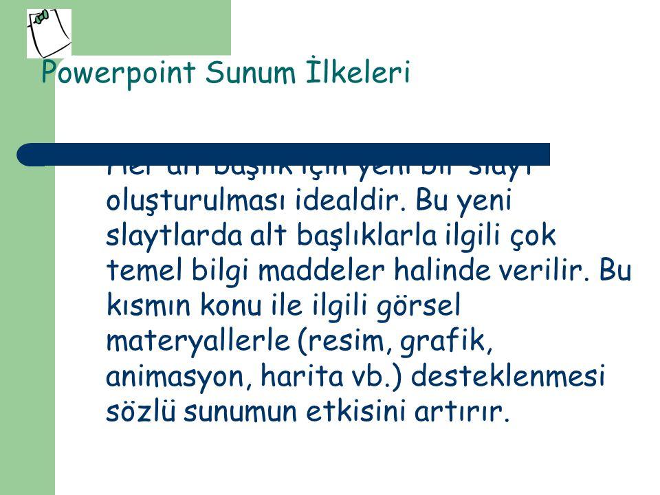 Powerpoint Sunum İlkeleri 5.Slayt sayısı sunum süresine göre ayarlanmalıdır.