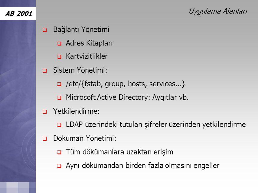 AB 2001 Uygulama Alanları  Bağlantı Yönetimi  Adres Kitapları  Kartvizitlikler  Sistem Yönetimi:  /etc/{fstab, group, hosts, services...}  Microsoft Active Directory: Aygıtlar vb.