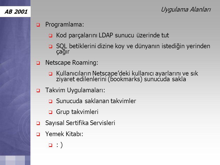 AB 2001 Uygulama Alanları  Programlama:  Kod parçalarını LDAP sunucu üzerinde tut  SQL betiklerini dizine koy ve dünyanın istediğin yerinden çağır  Netscape Roaming:  Kullanıcıların Netscape'deki kullanıcı ayarlarını ve sık ziyaret edilenlerini (bookmarks) sunucuda sakla  Takvim Uygulamaları:  Sunucuda saklanan takvimler  Grup takvimleri  Sayısal Sertifika Servisleri  Yemek Kitabı:  : )