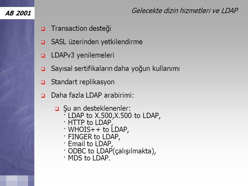 AB 2001 Gelecekte dizin hizmetleri ve LDAP  Transaction desteği  SASL üzerinden yetkilendirme  LDAPv3 yenilemeleri  Sayısal sertifikaların daha yoğun kullanımı  Standart replikasyon  Daha fazla LDAP arabirimi:  Şu an desteklenenler: · LDAP to X.500,X.500 to LDAP, · HTTP to LDAP, · WHOIS++ to LDAP, · FINGER to LDAP, · Email to LDAP, · ODBC to LDAP(çalışılmakta), · MDS to LDAP.