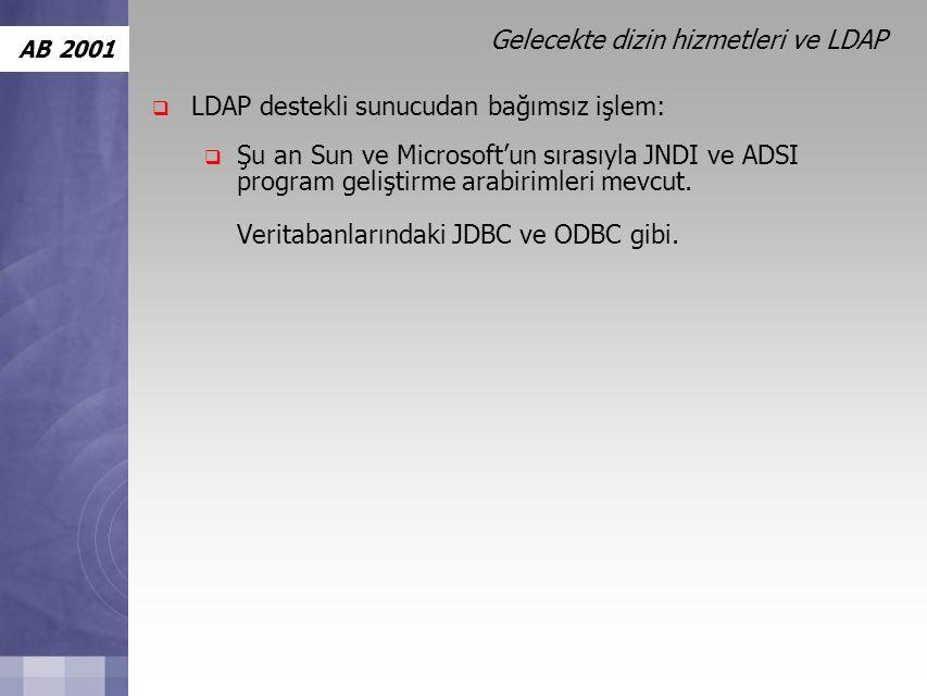 AB 2001 Gelecekte dizin hizmetleri ve LDAP  LDAP destekli sunucudan bağımsız işlem:  Şu an Sun ve Microsoft'un sırasıyla JNDI ve ADSI program geliştirme arabirimleri mevcut.